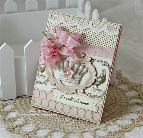 Handmade Cards Sale - sale shabby chic handmade card forever friends pink crown