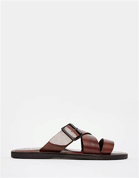 aldo sandals mens aldo sangha leather buckle sandals in brown for lyst