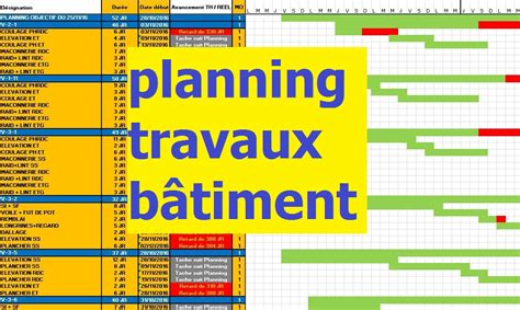 exemple planning travaux construction b 226 timent en excel