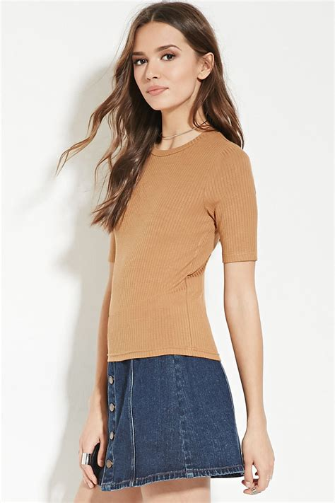 forever 21 knit top lyst forever 21 contemporary ribbed knit top in