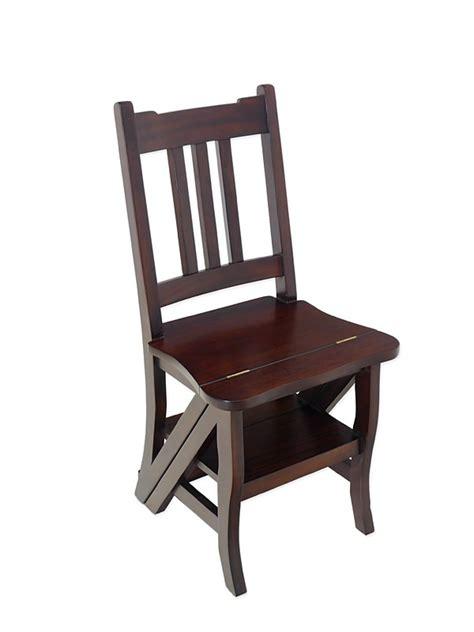 stuhl leiter leiterstuhl stuhl treppenstuhl massivholz nussbaum dunkel