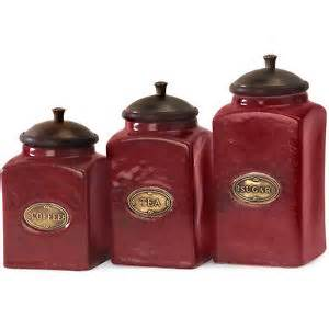 Kitchen Counter Canisters Red Canister Set 3 Ceramic Kitchen Counter Storage Jars