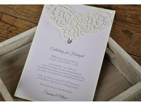 Hochzeitskarten Einladung Edel by Edle Hochzeitseinladungen Quot Lasercut Mit Strassstein Quot