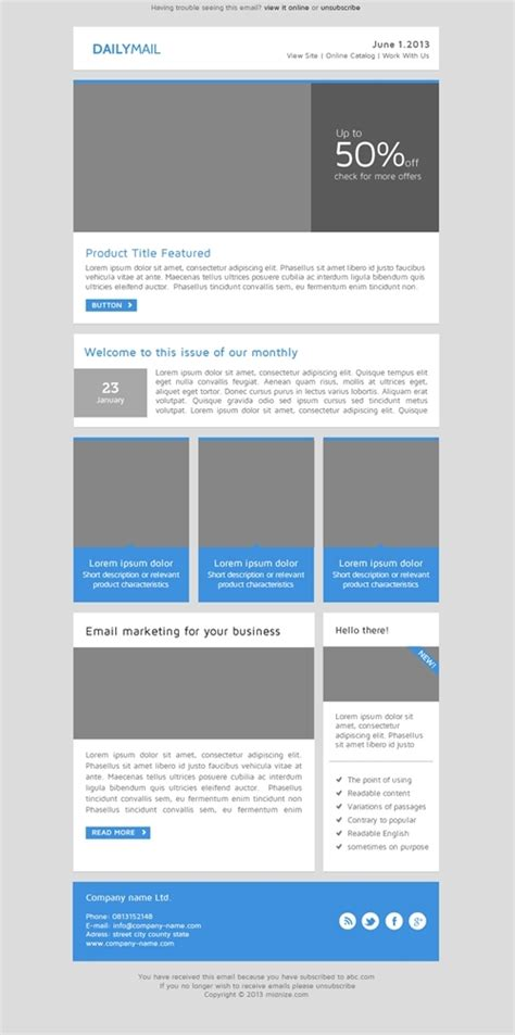Daily Mail Clean Responsive Email Template By Smythemes Themeforest Clean Email Template