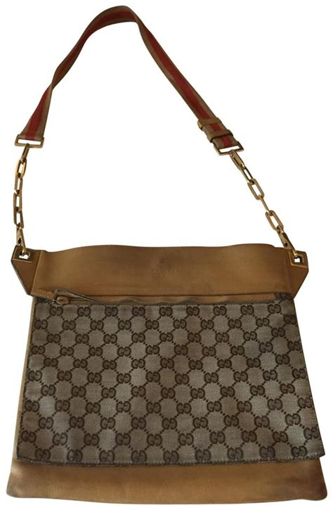 gucci vintage tan leather  canvas monogram messenger