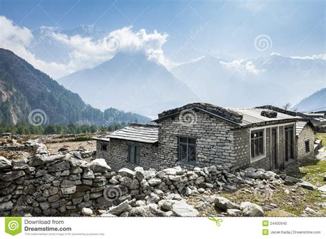 local house view of local house in himalayan mountains nepal royalty free stock photo image