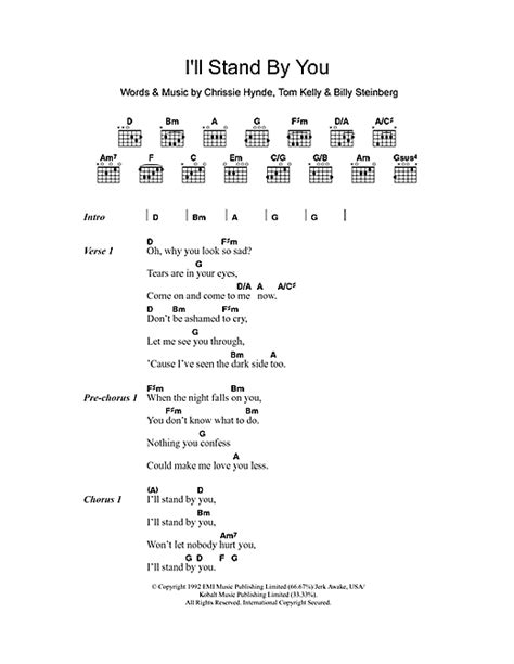 Country Music Lyrics I Will Stand By You | i ll stand by you sheet music by the pretenders lyrics