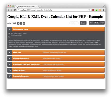 google ical xml event list calendar php rikdevos