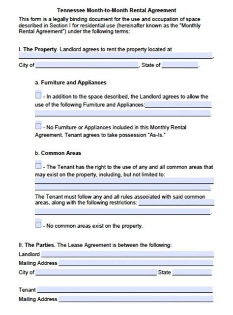 printable lease agreement tennessee free tennessee month to month lease agreement pdf word