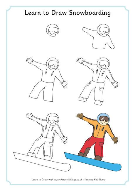 learn doodle drawing snowboarder drawing
