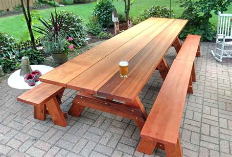 large wooden table large wooden picnic table custom wood picnic table kit