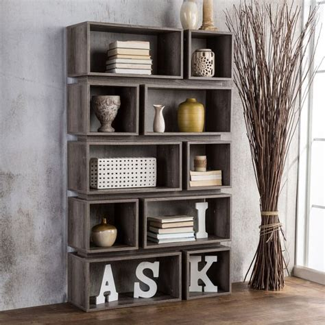 tiered bookshelves furniture of america cassidy tiered distressed grey 10