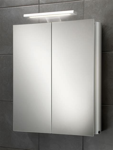 mirror cabinet with light hib atomic led illuminated double door aluminium mirrored