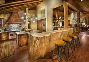 unique rustic chandeliers rustic cabin kitchen design with log wood bar table and