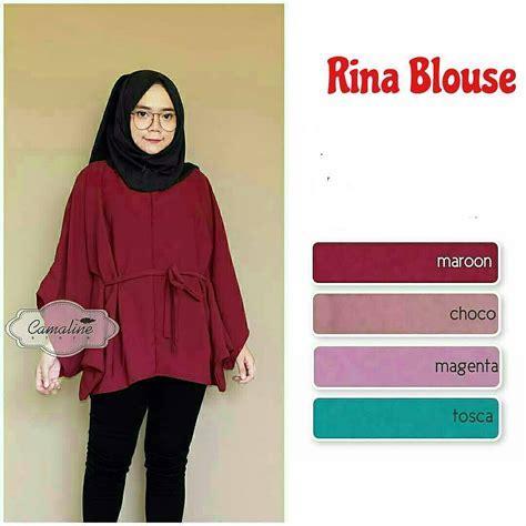Baju Murah Rina Blouse Navy jual baju atasan muslim modern rina blouse muslimodis