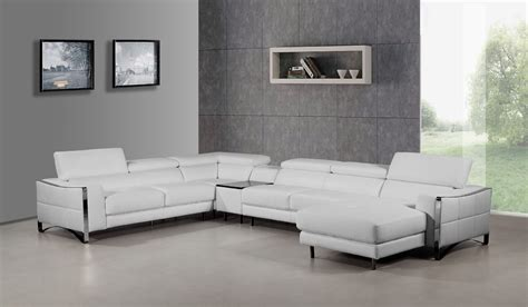 Modern White Sectional Sofa Divani Casa Arles Modern White Leather Sectional Sofa