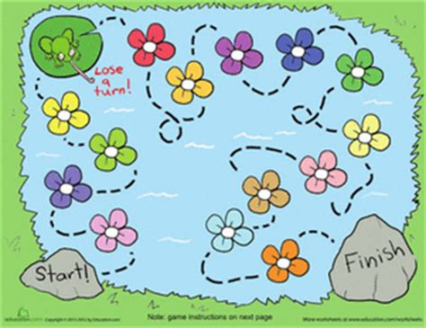 printable board games for kindergarten flower pond board game worksheet education com