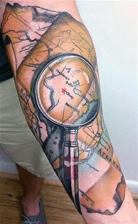 world map tattoo designs  men adventure  globe