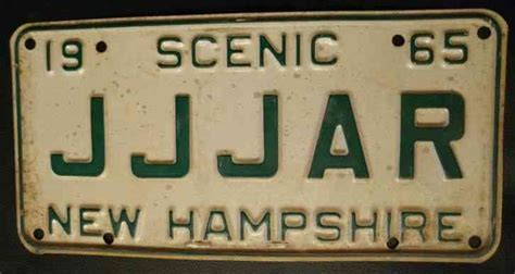 Nh Vanity Plate by 1965 N H New Hshire Vanity License Plate