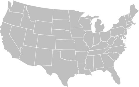 Blank Gray Usa Map White Lines Clip Art at Clker.com