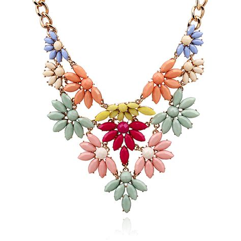 Kn71739 Kalung Choker Layer Pink Flower fashion colorful flowers layered metal necklace necklace
