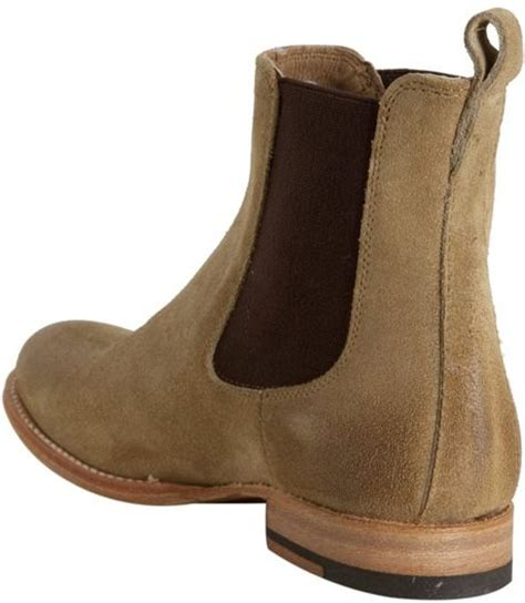 frye sand suede erin chelsea slip on ankle boots in beige