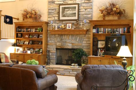 2 story fireplace traditional family room