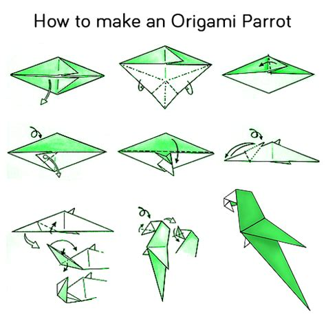 Origami Bird Folding - steps how to make a origami parrot wedding decor style