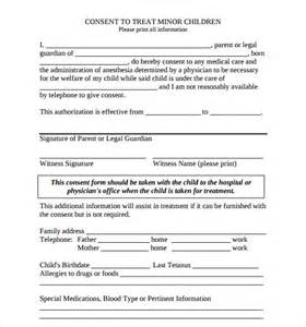 sample child medical consent form 5 download free