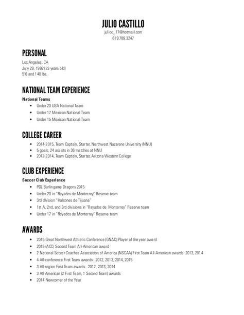 resume template for college teams julio castillo soccer resume 7