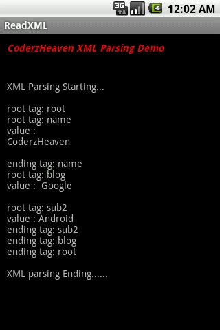 android tutorial xml parsing parsing xml in android a simple exle coderzheaven