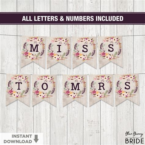 free printable letters and numbers for banners rustic boho floral printable banner all letters and numbers