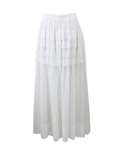 michael kors tiered maxi skirt in white lyst