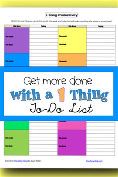 Get Done 1 get more done with a 1 thing to do list