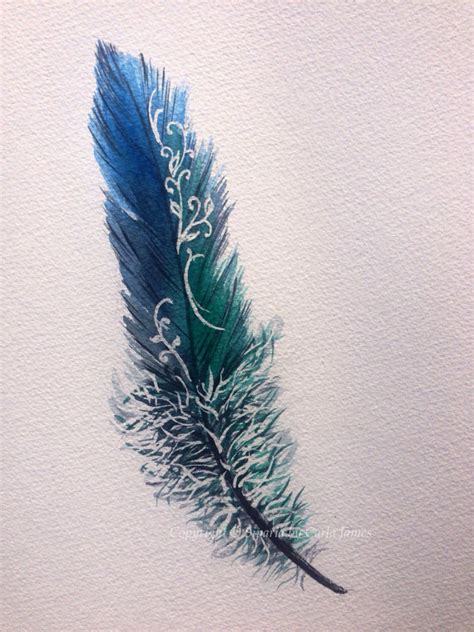 tattoo pen watercolor blue and green feather design in watercolour by siparia