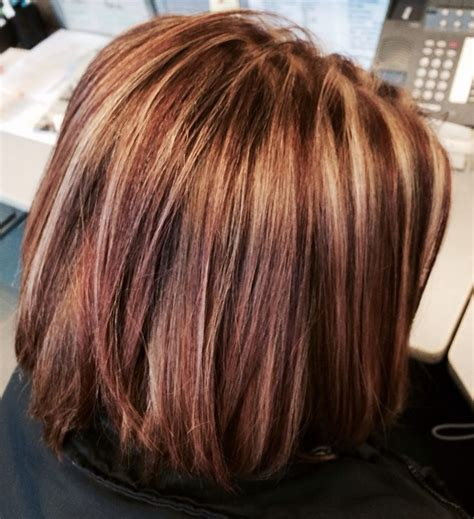 burgandy caramel and brown highlights brown hair with caramel highlights and red highlights