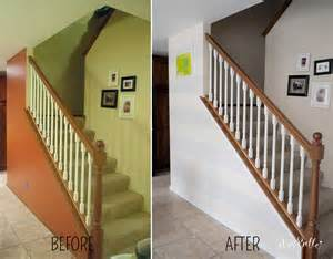 Painting stripes on a wall before and after