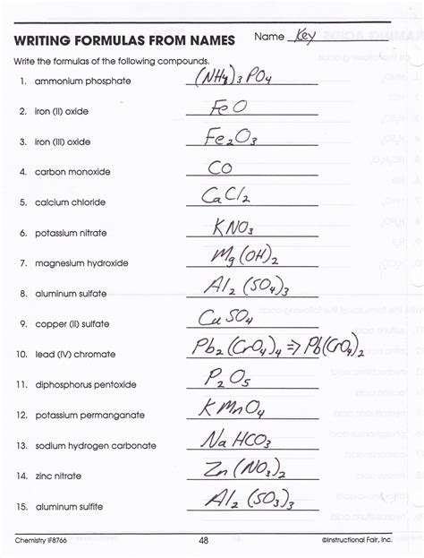 heritage high school chemistry 2010 11 writing compound names and formulas key