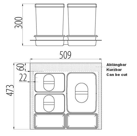 schubladen trennsystem trennsystem f 252 r schubladen mit 1x15l 2x7l sammler und 2