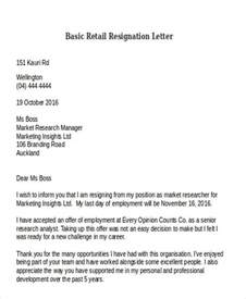 Resignation Letter Template Nz by 10 Retail Resignation Letter Template Free Word Pdf Format Free Premium Templates