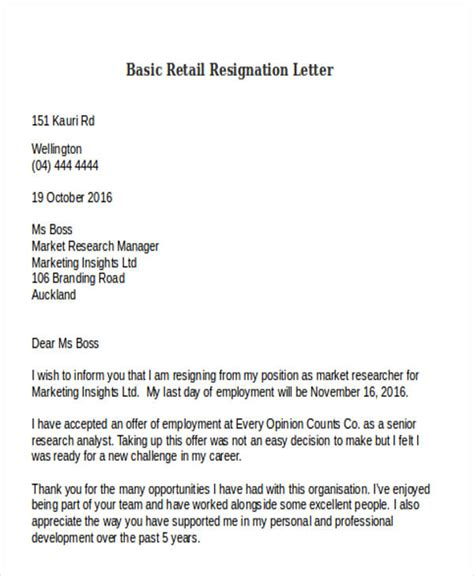 Resignation Letter Sle Nz by 10 Retail Resignation Letter Template Free Word Pdf Format Free Premium Templates