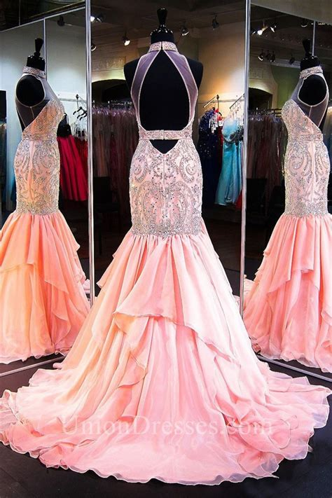 high neck beaded prom dress mermaid high neck open back light pink chiffon beaded prom