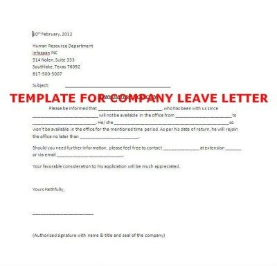 leave application letter company template of company leave letter stepbystep books