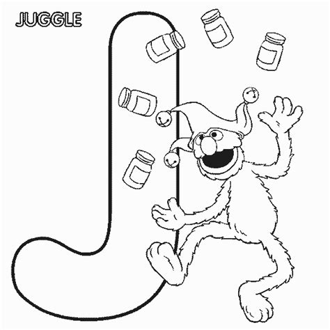 Abc Letter J Juggle Sesame Street Grover Coloring Page Sesame Alphabet Coloring Pages