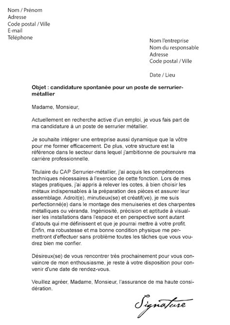 Lettre De Motivation De Soudeur Lettre De Motivation Serrurier M 233 Tallier Mod 232 Le De Lettre