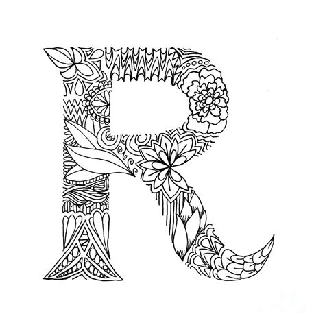 patterned letter r drawing by alyssa zeldenrust