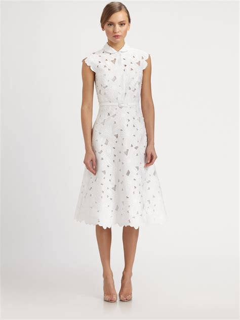 White Dress valentino piqueacute embroidered dress in white lyst