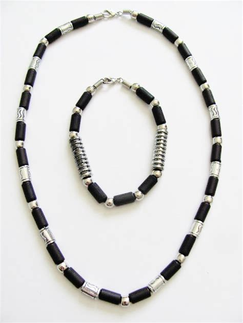 black bead bracelet mens cancun chrome black bead necklace