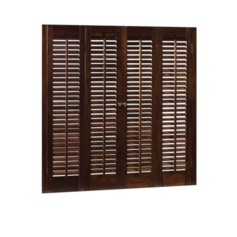 Wood Shutters Interior Lowes by Shop Allen Roth 31 In 33 Inw X 28 Inl Colonial Mahogany