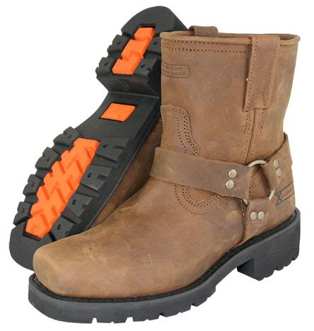 mens short motorcycle boots men s short harness brown leather motorcycle boots